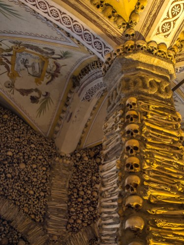 The macabre Chapel of Bones in the Church of St. Francis in Evora is decorated with the bones from an estimated 5000 human skeletons