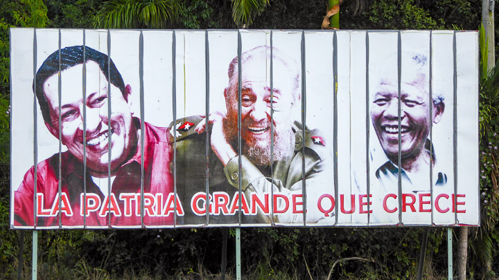 """The phrase on this roadside propaganda billboard roughly translates as """"the great fatherland that grows"""""""