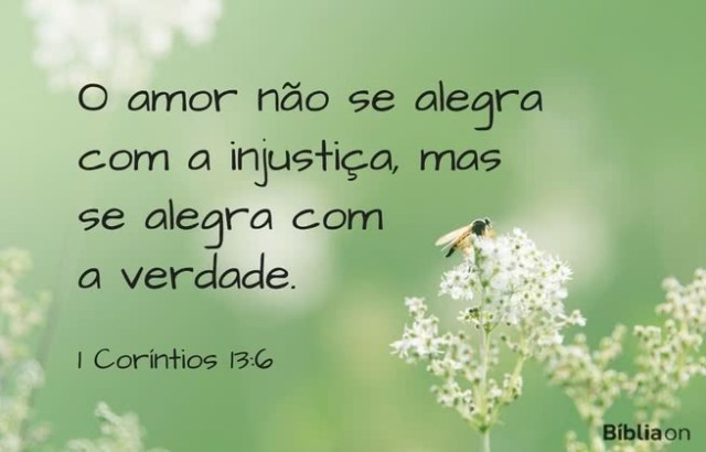 O amor não se alegra com a injustiça, mas se alegra com a verdade. 1 Coríntios 13:6