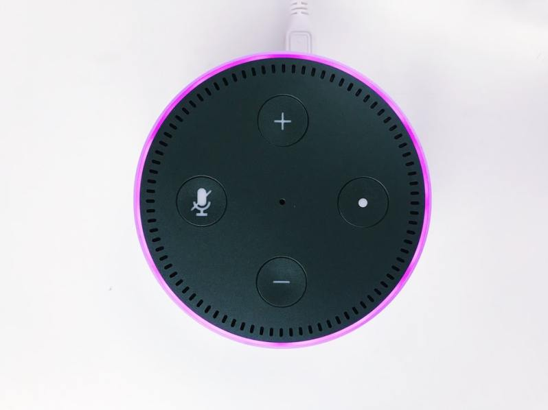 Top view of Echo Dot with purple light ring