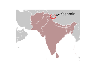 Map depicting location of Kashmir - contested area on Indian Pakistan border