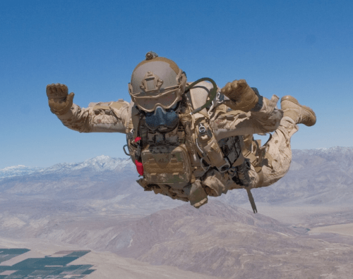Canadian special operations trooper conducts high altitude low opening (HALO) parachute jump. (photo credit Canadian forces)