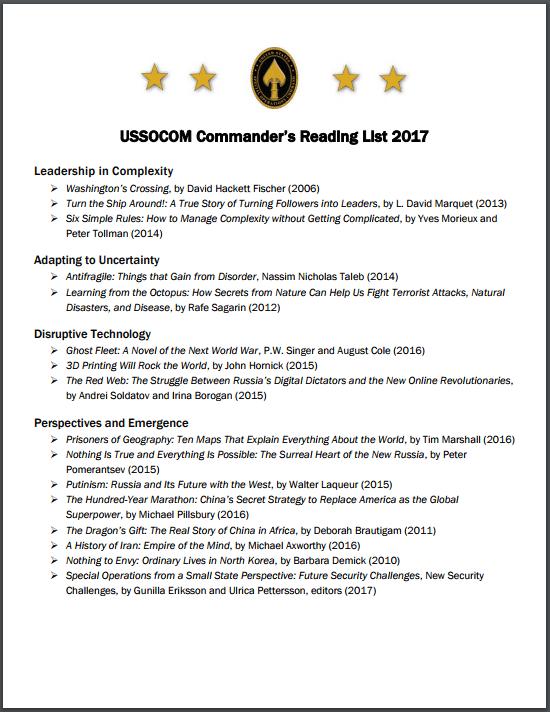USSOCOM Commander's Reading List 2017