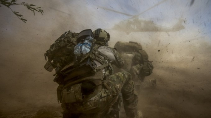 Angel Thunder 18.1 - U.S. Air Force pararescue men with the 58th Rescue Squadron prepare for exfil during the Angel Thunder 17 exercise. (Photo USAF Staff Sgt. Marianique Santos, May 11, 2017).