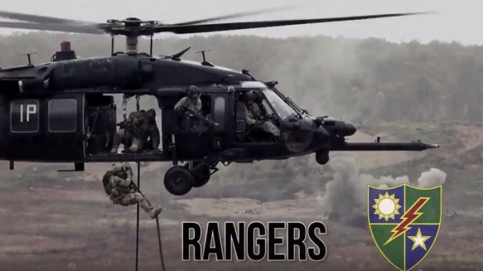 ARSOF video - Rangers Fastroping from UH-60 (photo from USASOC video 6 Nov 2017)