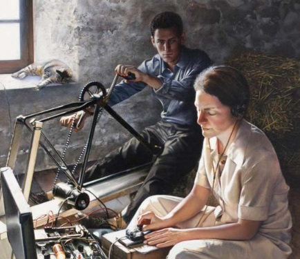 Portrait of Virginia Hall of the OSS in WWII operating a suitcase radio. Painting hangs in the CIA building and is by Jeffrey W. Bass.