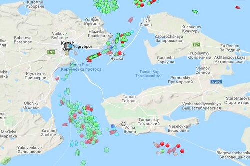 Map Kerch Strait MarineTraffic.com