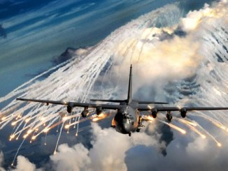 An AC-130 Gunship shoots off flares. Photo by AFSOC, January 1, 2020.