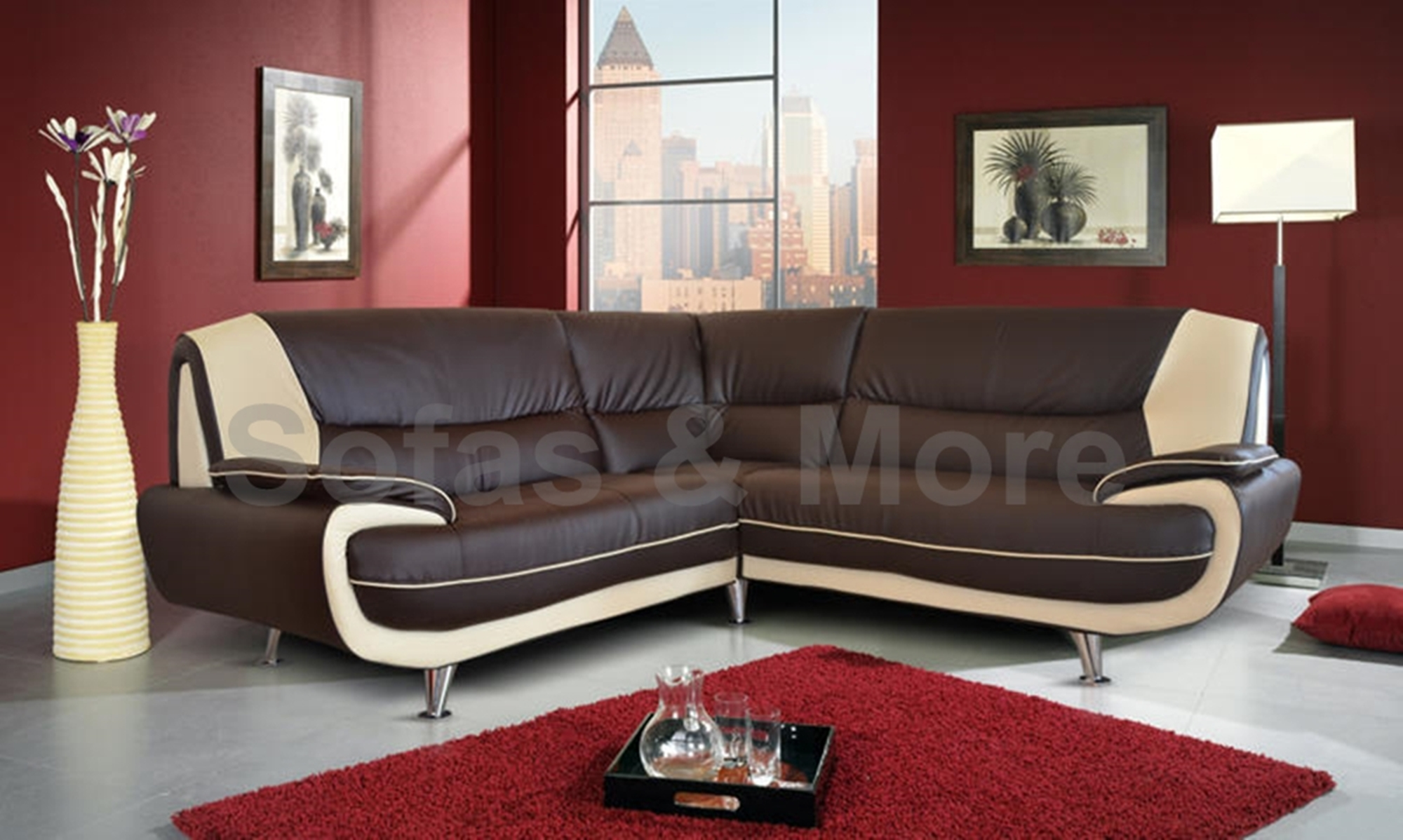 NEW 3+2 SEATER LEATHER SOFA SET BROWN CREAM 3 SEATER 2