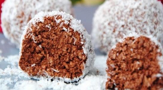 Σοκολατένιες μεθυσμένες μπαλίτσες με ινδοκάρυδο και στέβια!