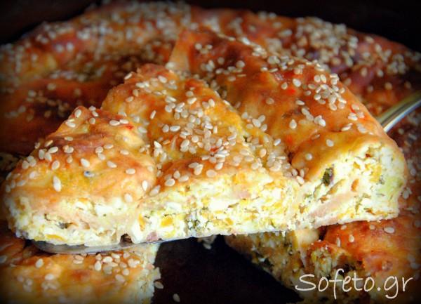 Πίτα με κολοκύθα και τυρί , ολικής αλέσεως!