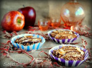 Ταρτάκια μήλου ολικής αλέσεως και βρώμης , χωρίς ζάχαρη , βούτυρο και αυγά.