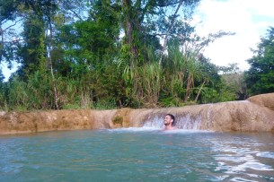 Jack relaxing in a mini waterfall :)