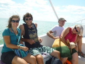 In the boat on our way to the islands... the french couple beside us tried not to be in the picture, haha. :)