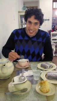 At a tea house in Santa Fe. Very cozy!