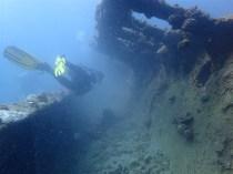 "Diving along the corridors of ""Sangat Gunboat"""