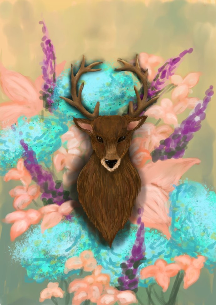 portrait  of a deer by Sofie Arts on sofiedoesart.com in getting started with digital art.