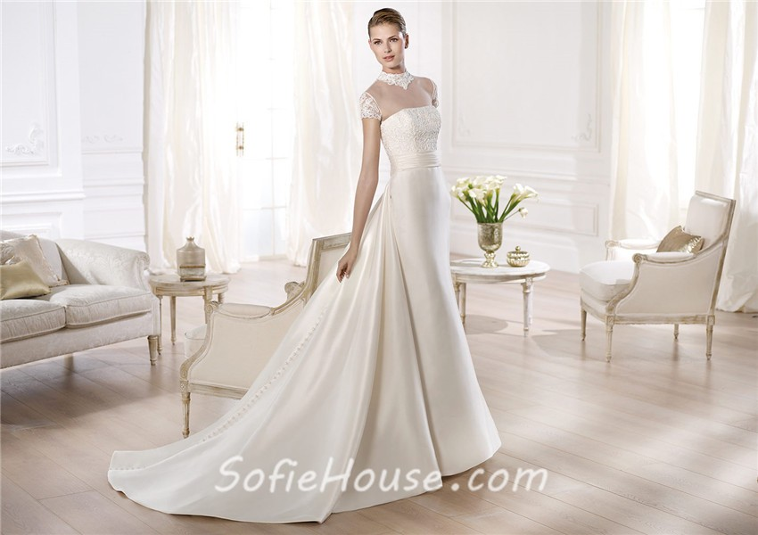 A Line High Neck Cap Sleeve Sheer Tulle Satin Wedding
