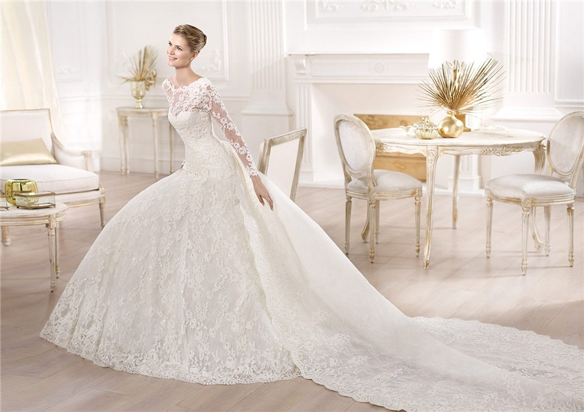 A Line Princess Bateau Neckline Long Sleeve Lace Wedding