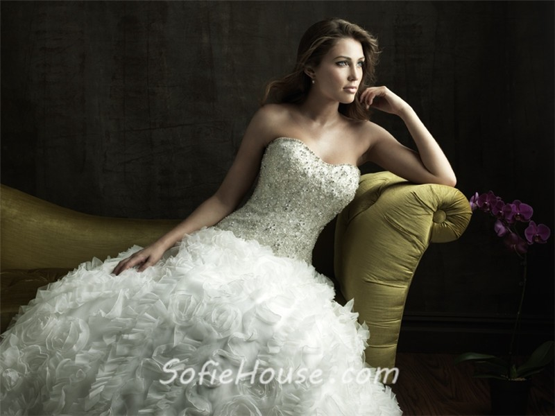 Ball Gown Strapless Organza Ruffles Floral Wedding Dress