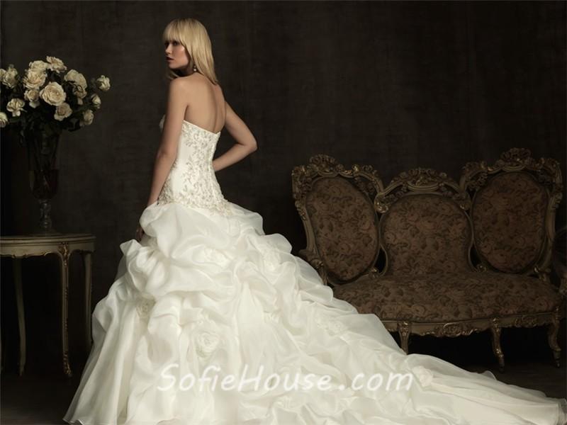 Ball Gown Sweetheart Ivory Satin Organza Puffy Wedding