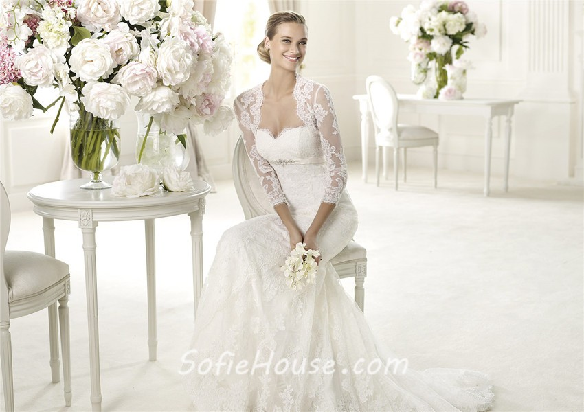 Fashion Mermaid Sweetheart Empire Waist Lace Wedding Dress