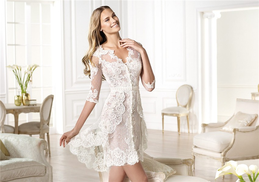 Informal Casual Modern High Low Short Sleeve Lace Wedding