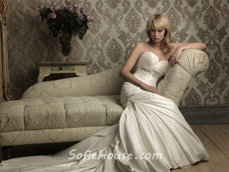 Mermaid Sweetheart Empire Waist Ruched Satin Wedding Dress