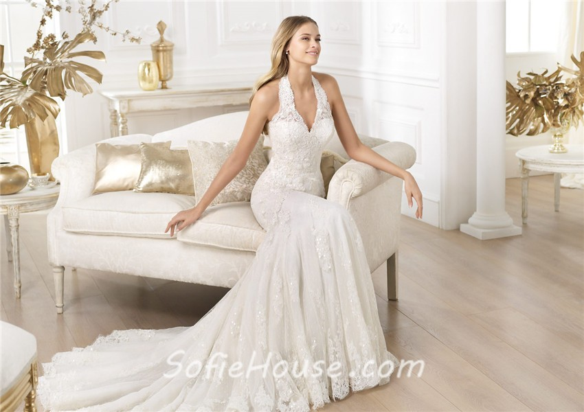 Slim Fitted Mermaid Halter Beaded Lace Wedding Dress With