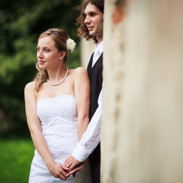 Portrait of a young wedding couple
