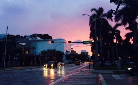 Miami at Dusk (Pink Sky)