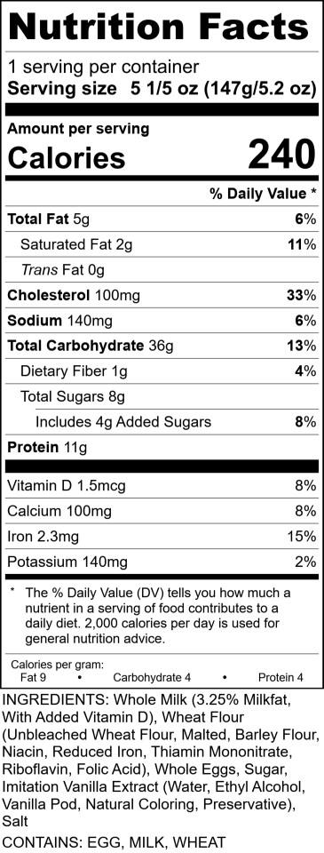 Sofis - Crepe Batter RecipeFormula Nutrition Label 5.2oz