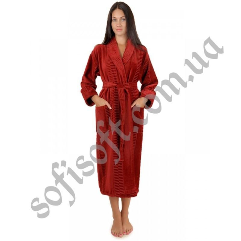 Халат махровый Sofi Soft хлопок шаль 3X бордо