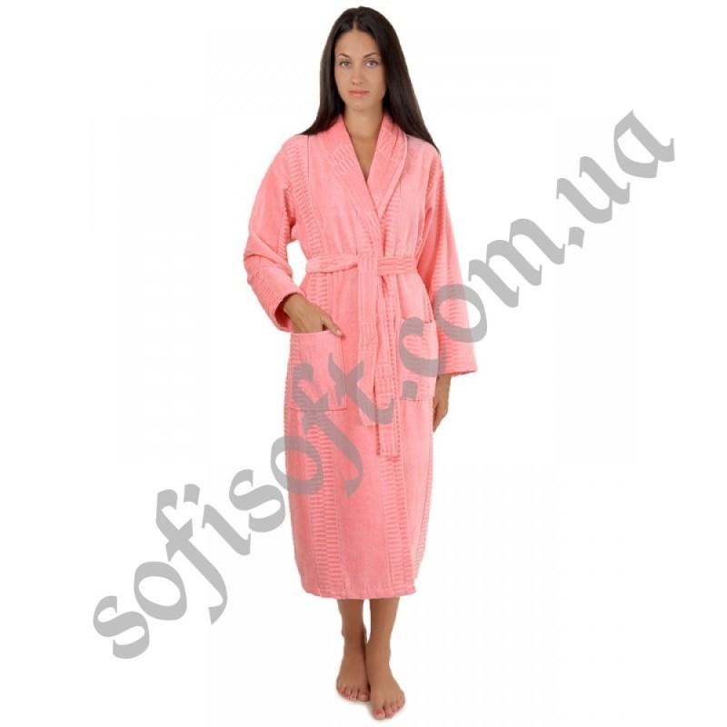 Халат махровый Sofi Soft хлопок шаль 3X персик