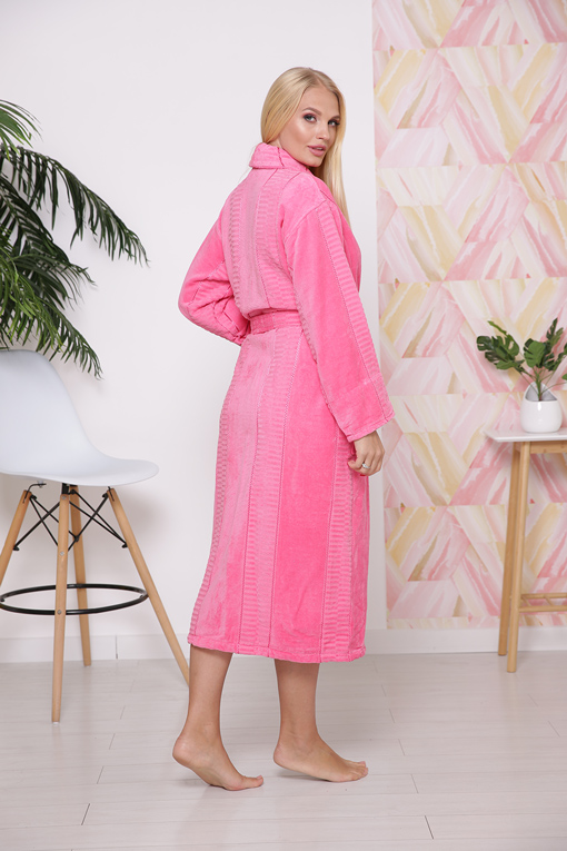 Халат махровый хлопок шаль Pink 3X 10819