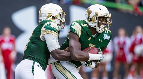 USF QB Quinton Flowers hand off to RB Marlon Mack vs Western Kentucky Miami Beach Bowl 2015 HD (469x260)