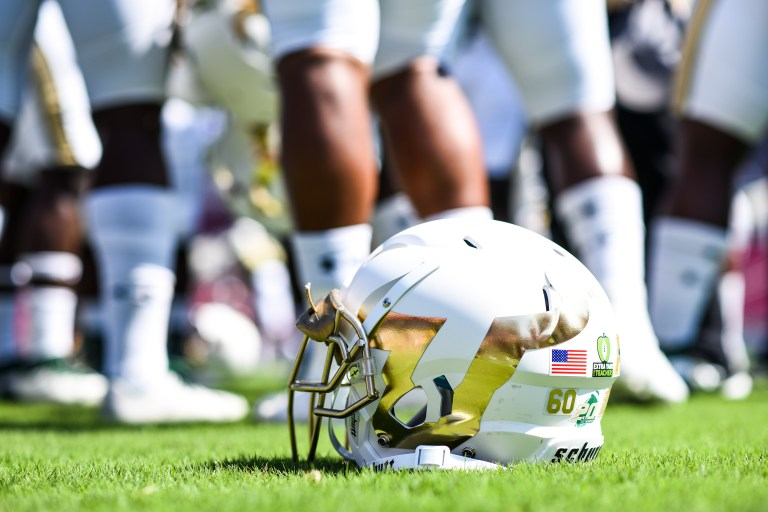 FSU vs USF 2016 40 - New White USF Football Helmet 2016 3 by Dennis Akers (4430x2953)