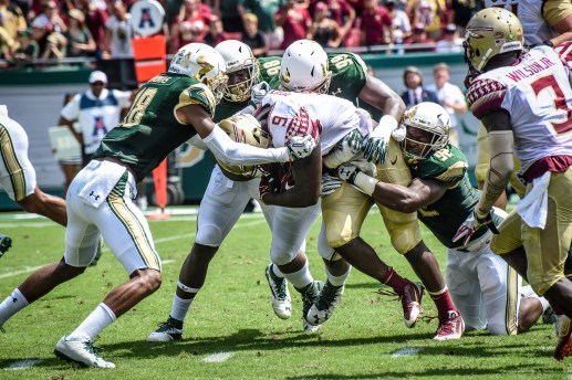 FSU vs USF 2016 70 - Jaymon Thomas Kevin Bronson Mike Love bottle up Jacques Patrick by Dennis Akers (4512x3008)