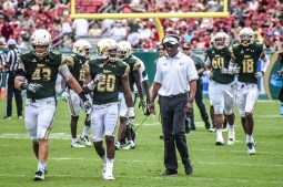 FSU vs USF 2016 99 - Willie Taggart with Auggie Sanchez Devin Abraham Jaymon Thomas by Dennis Akers (4013x2675)