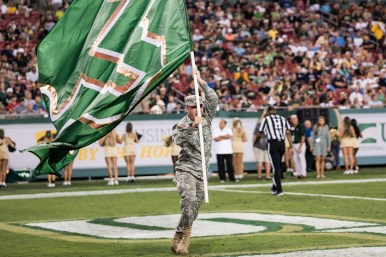 105 - Navy vs. USF 2016 - #USFSaluteToService Military Veteran with USF Flag by Dennis Akers | SoFloBulls.com (3908x2609)