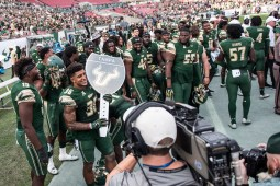 95 - USF vs. UCF 2016 - USF S Nate Godwin holding #WarOnI4 Trophy by Dennis Akers | SoFloBulls.com (4317x2882)