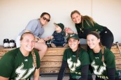 2017 USF Bulls Softball Players Greeting Sonny Akers in dugout by Dennis Akers   SoFloBulls.com