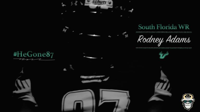 #HeGone87 South Florida WR Rodney Adams Teaser 2016 YouTube Cover Image Dark V by Matthew Manuri   SoFloBulls.com (1920x1280)
