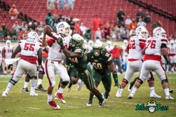 16 - Stony Brook vs. USF 2017 - USF DE Greg Reaves 9 Yard TFL Sack of QB Joe Carbone by Dennis Akers | SoFloBulls.com (4864x3247)