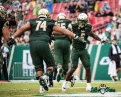 26 - Stony Brook vs. USF 2017 - USF RB Darius Tice Cameron Ruff Low-Five by Dennis Akers | SoFloBulls.com (4016x3213)