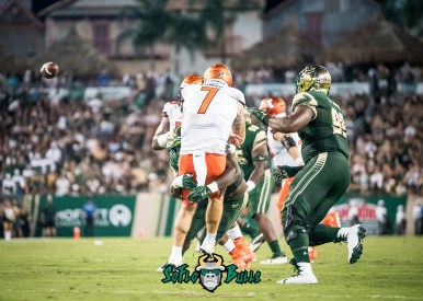 73 - Illinois vs. USF 2017 - USF DE Mike Love Hitting QB Chayce Crouch by Dennis Akers | SoFloBulls.com (4947x3534)