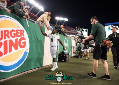 167 - Tulsa vs. USF 2017 - USF QB Quinton Flowers Post-Game High Fiving Fans by Dennis Akers | SoFloBulls.com (5599x3999)