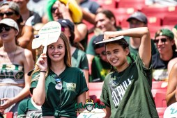 106 - Georgia Tech vs. USF 2018 - USF Students in Crowd Hiding from the heat by Dennis Akers | SoFloBulls.com (6016x4016)