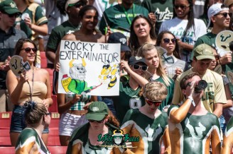 3 - Georgia Tech vs. USF 2018 - USF Fans with Rocky the Exterminator Sign Poster in Crowd by Dennis Akers | SoFloBulls.com (3669x2449)