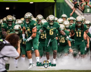 55 - Elon vs. USF 2018 - USF WR Deangelo Antoine Keirston Johnson Dwayne Boyles exiting tunnel by Dennis Akers | SoFloBulls.com (4586x3669)